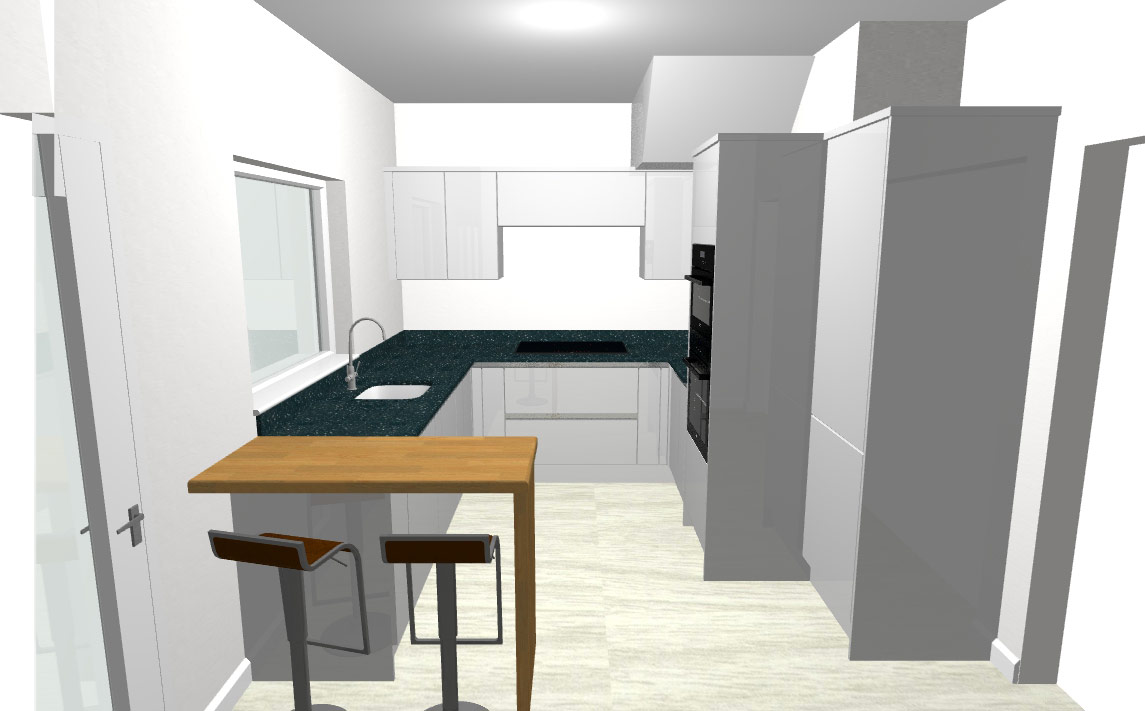 3d visual white kitchen